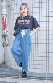Rope Belt Denim Wide Pants (blue)