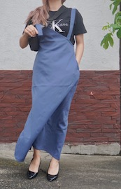 2type Strap Long Jumper Skirt (blue)